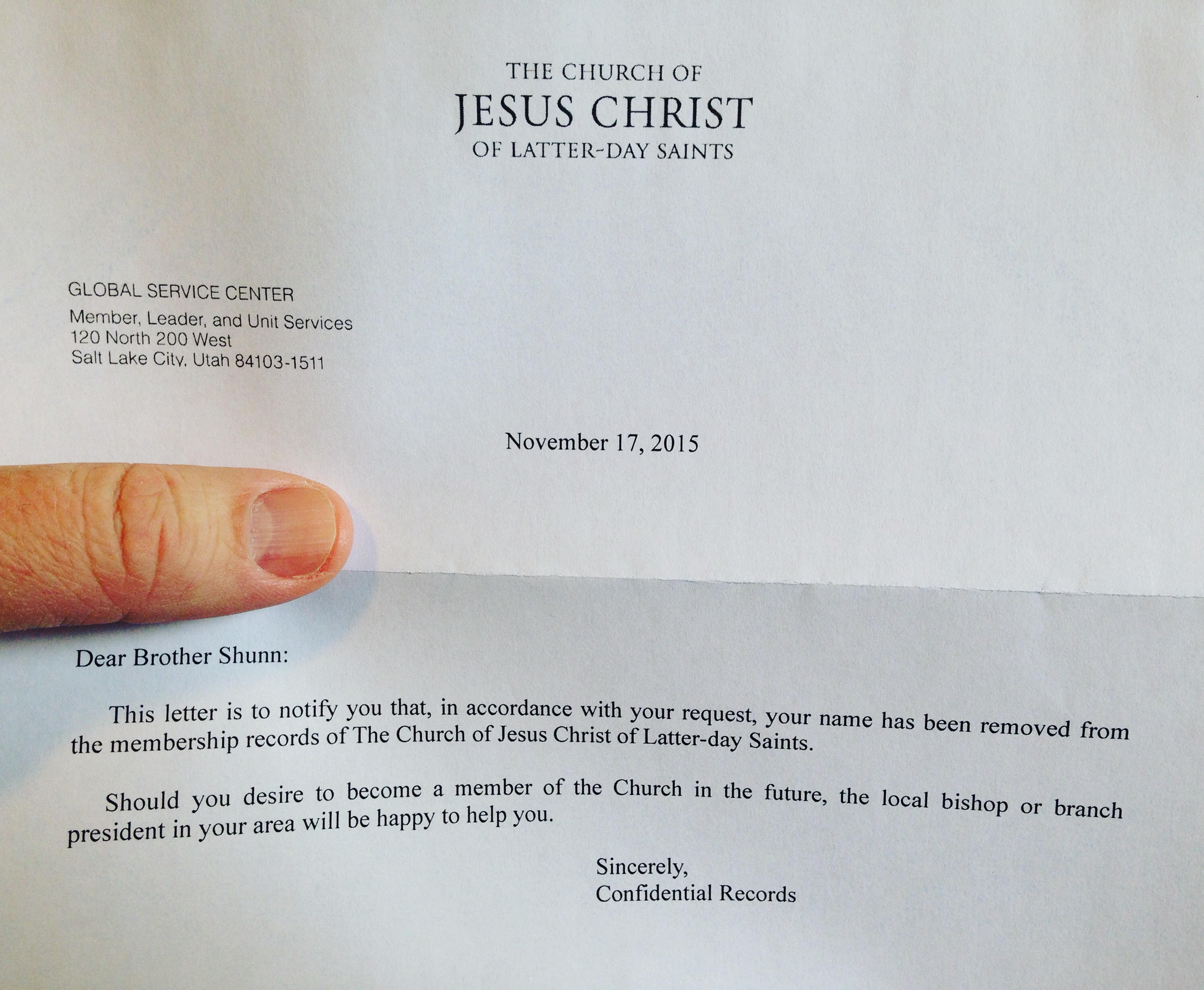 i m thankful this week that i got out of the mormon church out confirmation of successful resignation from lds church