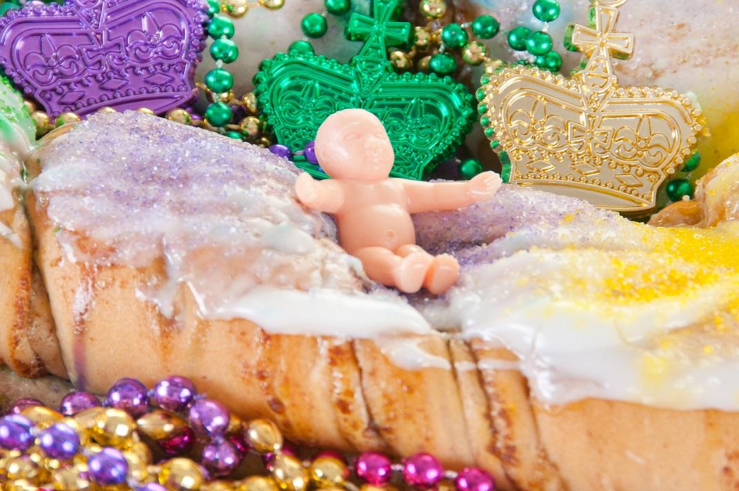 Mardi gras cake with baby Jesus