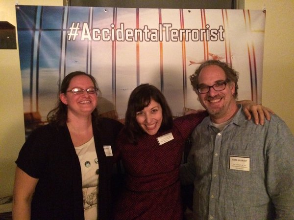 Tricia Ready, Colleen AF Venable, and Barry Goldblatt at The Accidental Terrorist Release Party, 10 November 2015