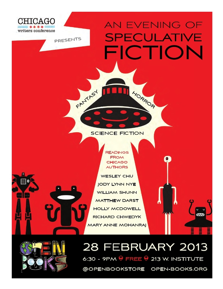 An Evening of Speculative Fiction, Open Books Bookstory, Thursday, February 28, 2013