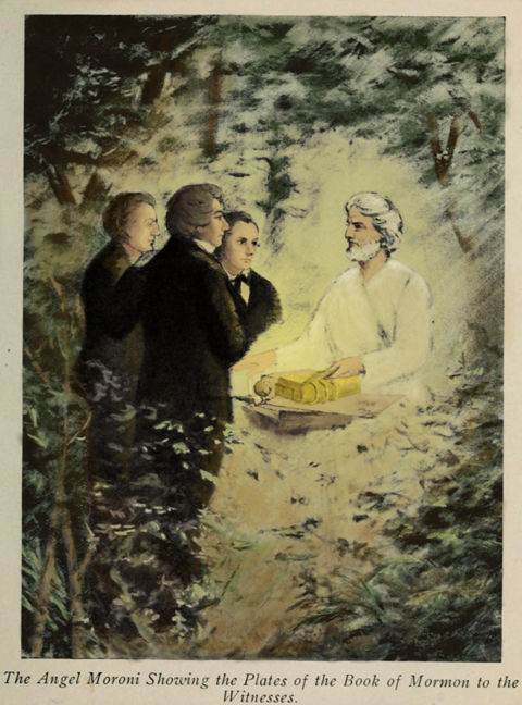 """The Angel Moroni showing the Plates of the Book of Mormon to the Witnesses"" (Shutterstock/Everett Historical)"