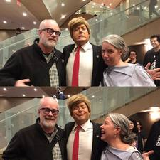 Bill and Laura with Anthony Atamanuik after 'Trump Dump: The Last Rally,' NYU Skirball Center, 3 November 2016