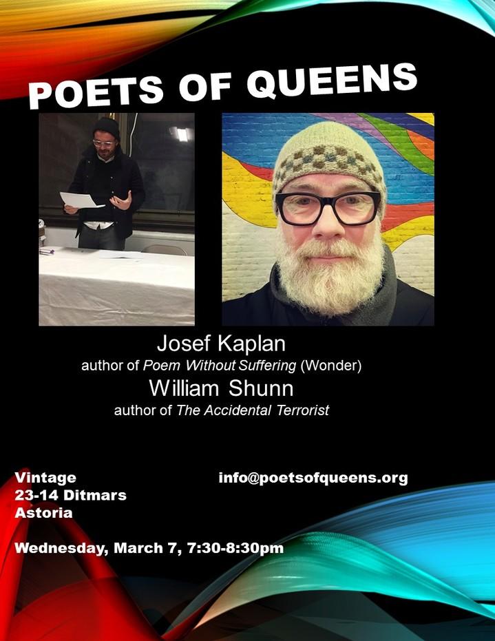Poets of Queens Reading, 7 March 2018, 7:30 pm, Vintage Wine Bar, Astoria, Queens