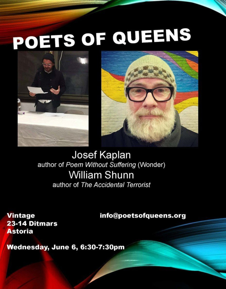 Poets of Queens Reading, 6 June 2018, 6:30 pm, Vintage Wine Bar, Astoria, Queens