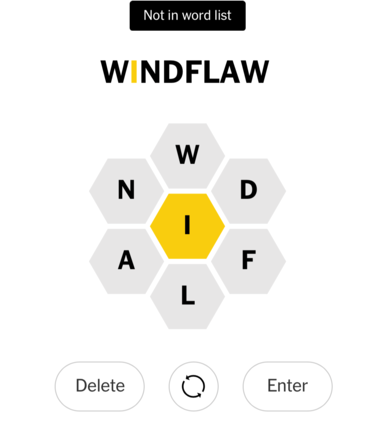WINDFLAW not in word list