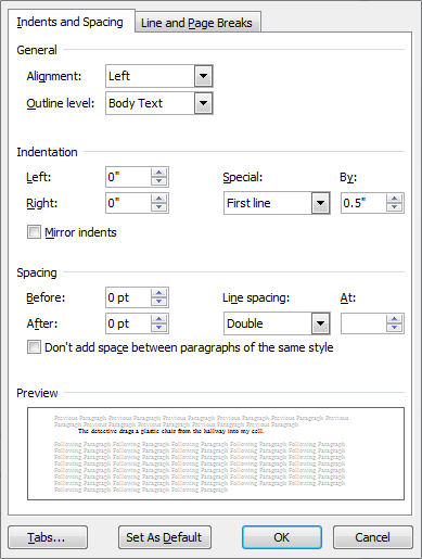 Paragraph formatting box from Microsoft Word 2010