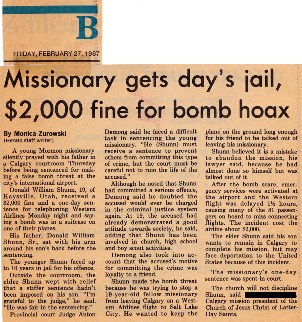 Calgary Herald: Missionary gets day's jail, $2,000 fine for bomb hoax - click to view - mousewheel to zoom