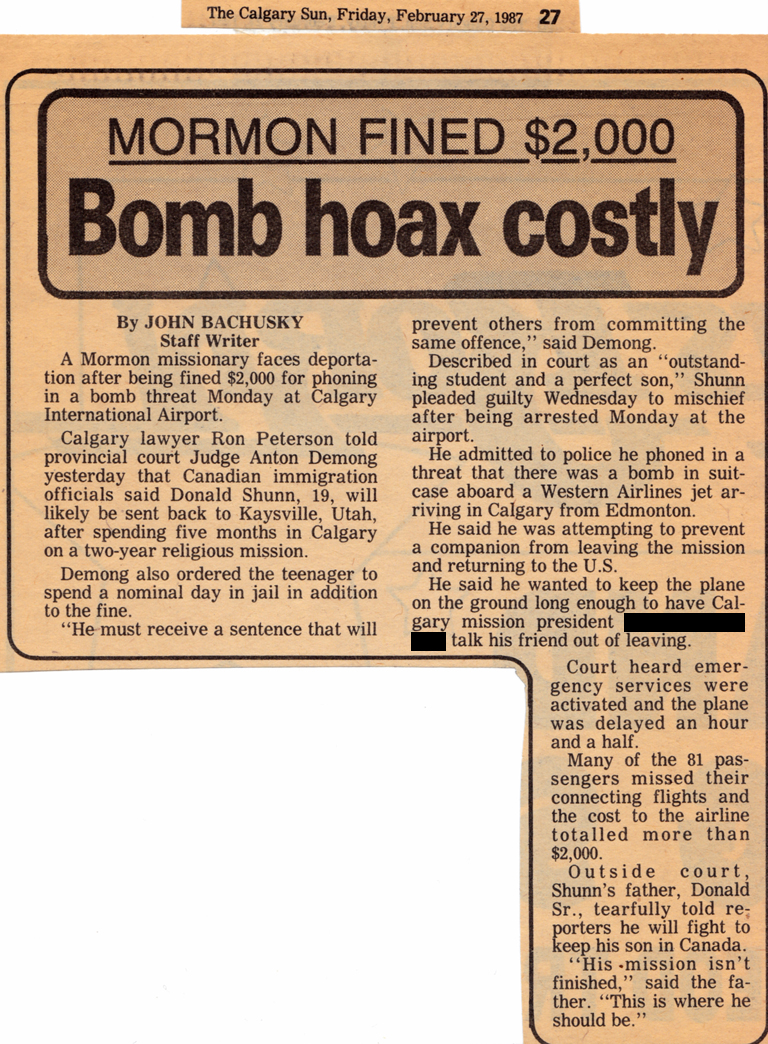 Calgary Sun: Bomb hoax costly, Mormon fined $2,000
