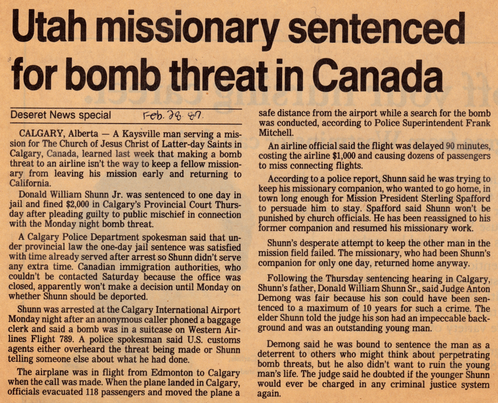 Deseret News: Utah missionary sentenced for bomb threat in Canada