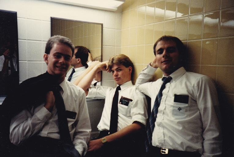Elder Shunn (left) with fellow elders at the Missionary Training Center, Provo, Utah - click to view - mousewheel to zoom
