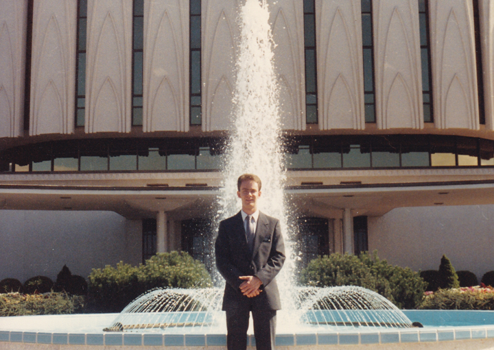 Young Elder Shunn at the Mormon temple in Provo, Utah, 1986 - click to view - mousewheel to zoom