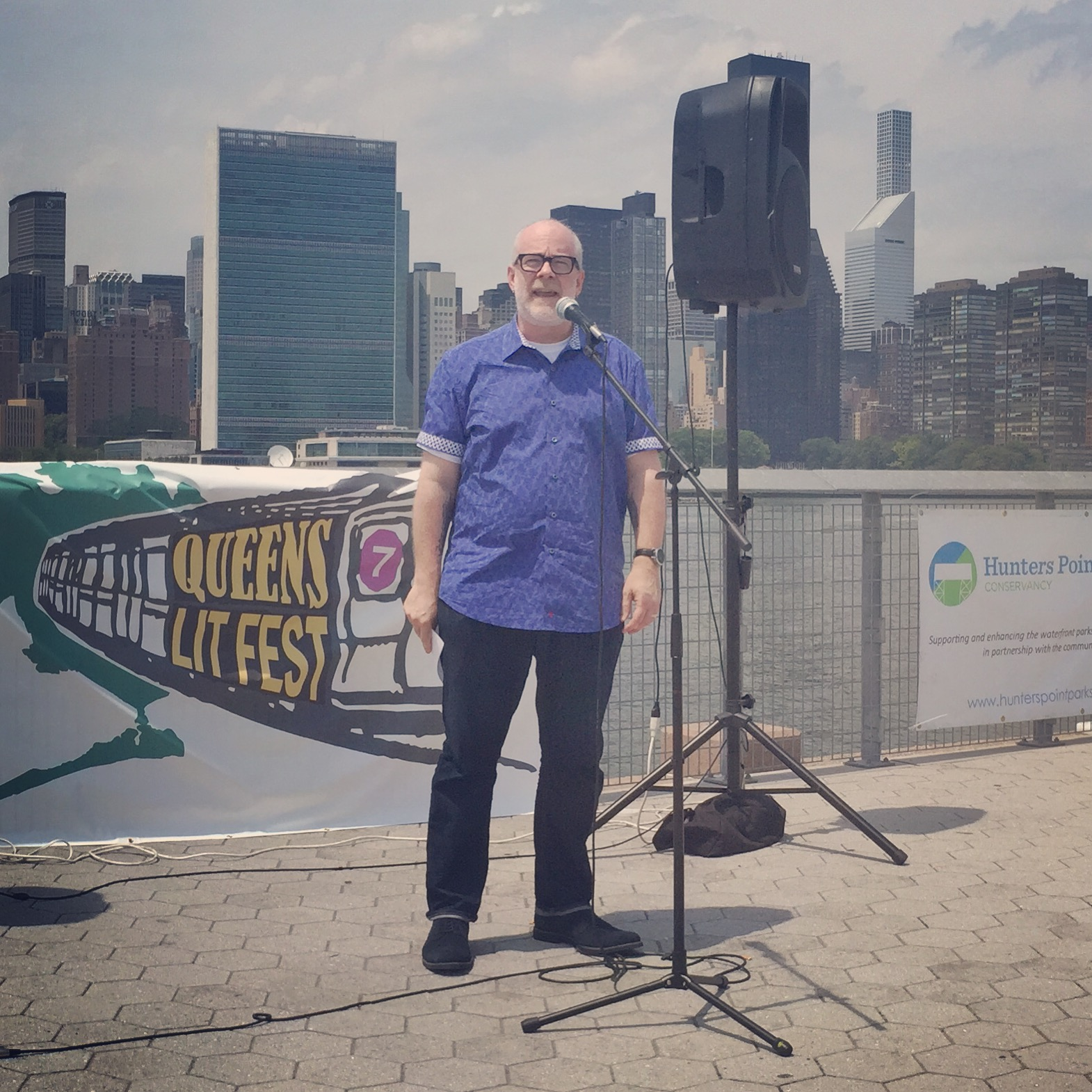William Shunn reads for Line Break at the Queens Lit Fest, LIC Landing, Long Island City, NY, July 16, 2016