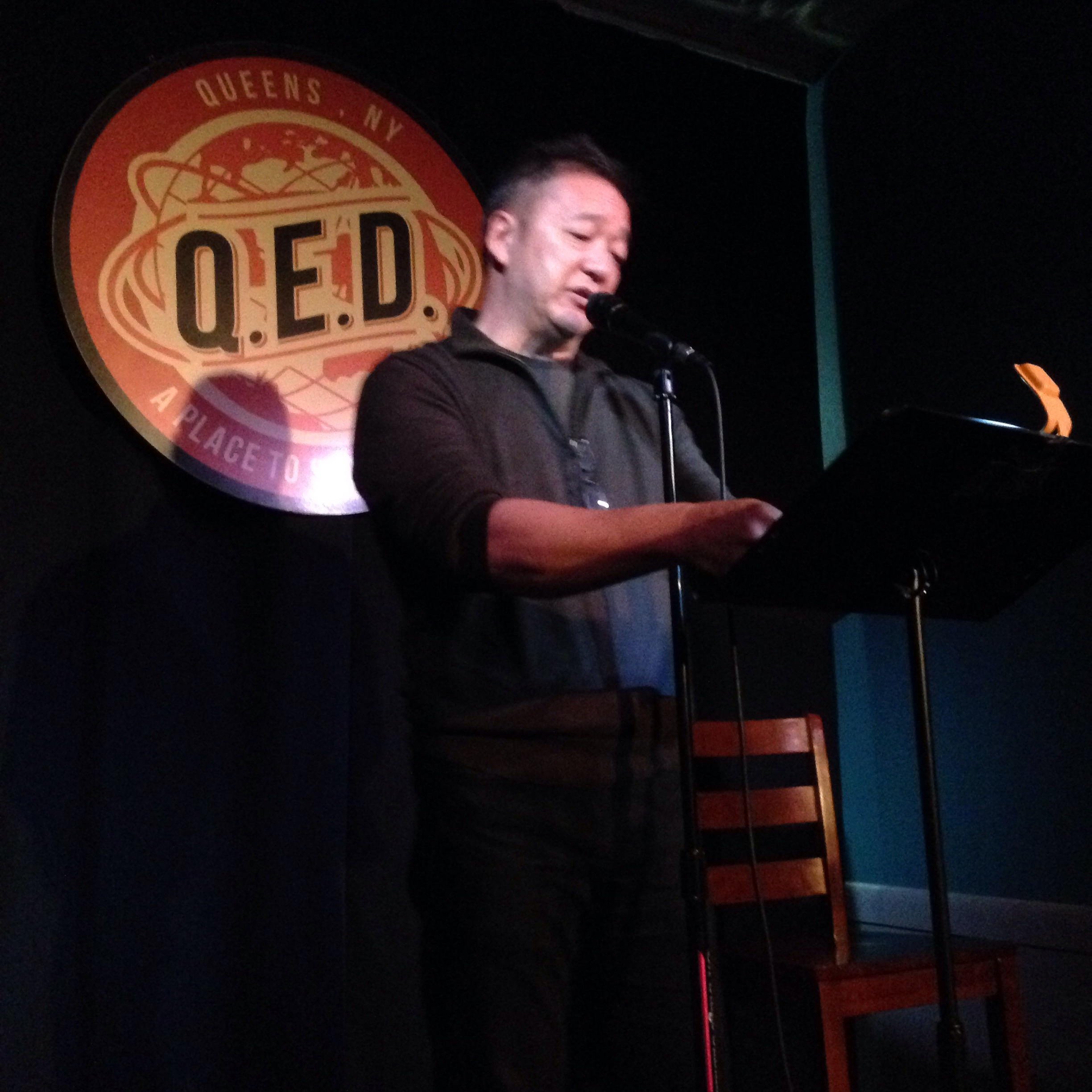 Malcolm Chang reads at Line Break #1 at Q.E.D. in Astoria, Queens, March 5, 2016