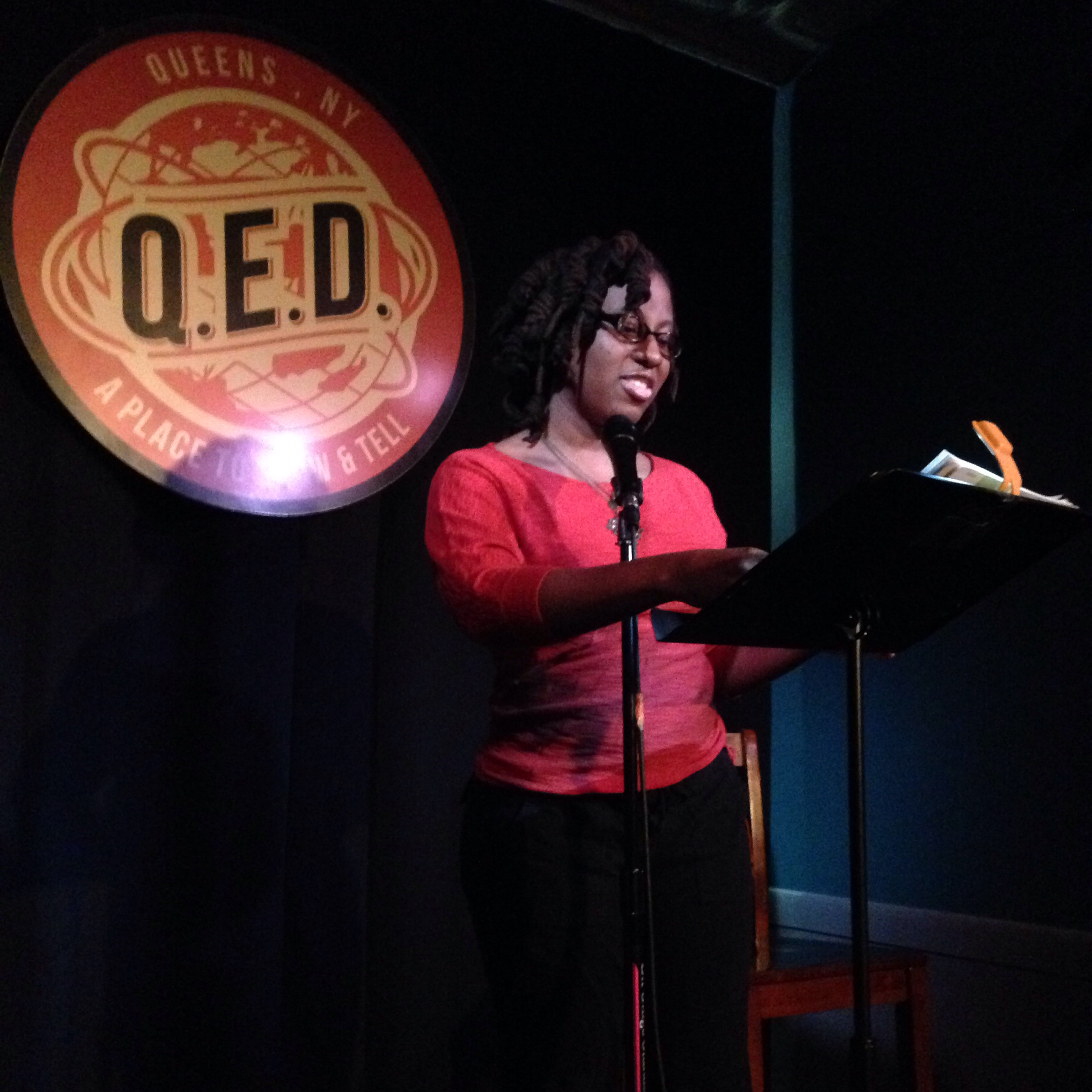 Sherese Francis reads at Line Break #1 at Q.E.D. in Astoria, Queens, March 5, 2016