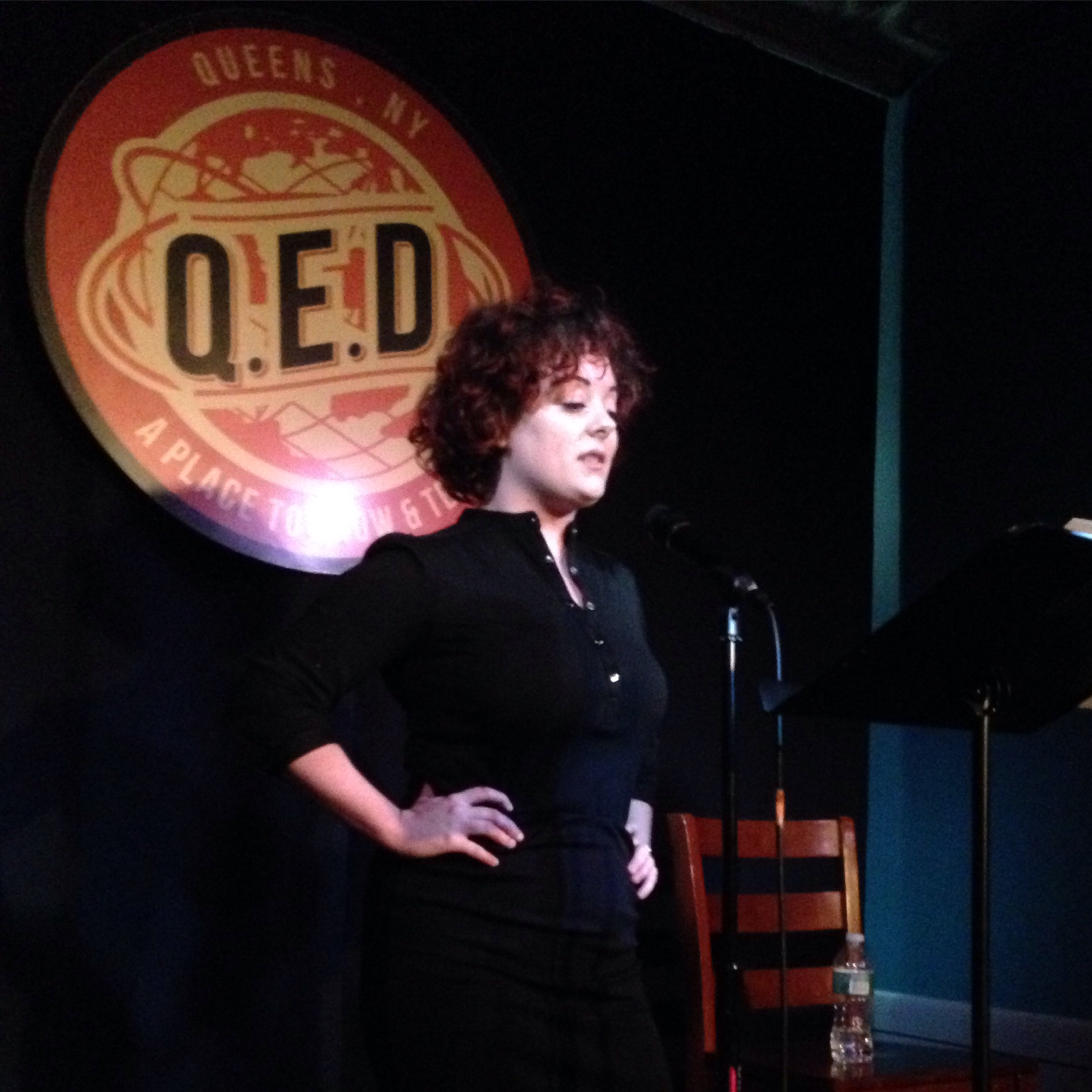 Sarah Riccio reads at Line Break #1 at Q.E.D. in Astoria, Queens, March 5, 2016