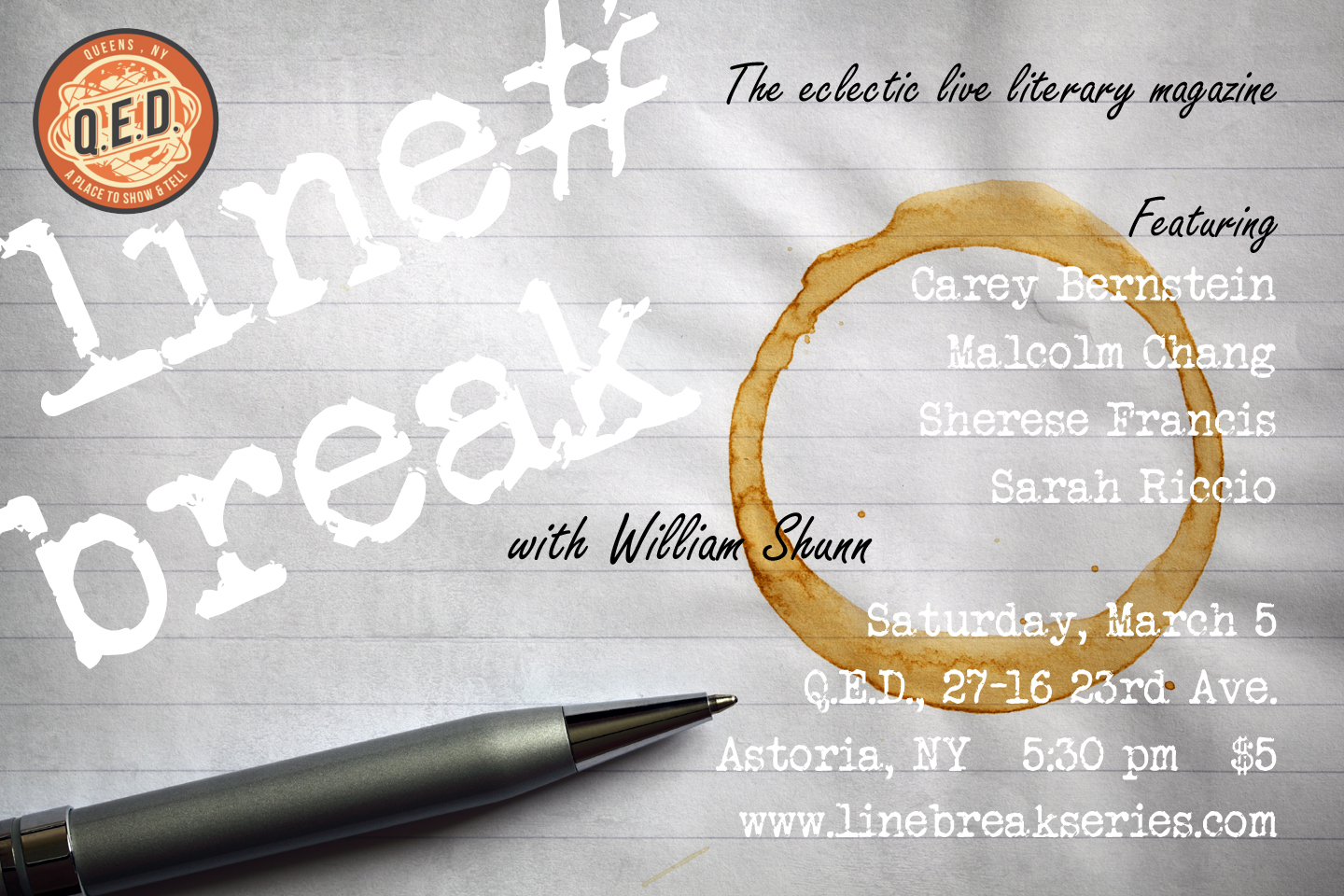Line Break Reading Series, Saturday, March 5, 2016, 5:30 pm