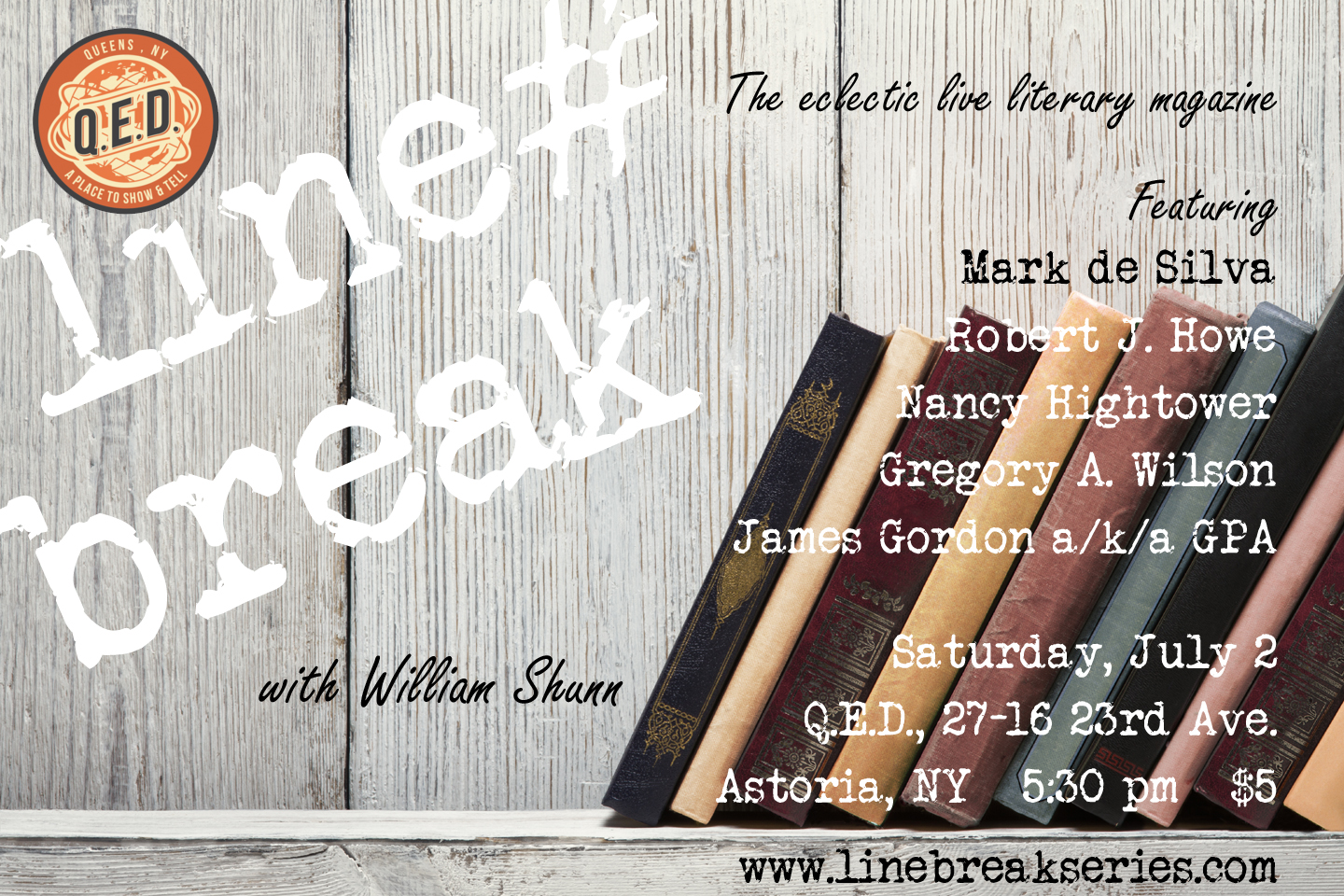 Line Break Reading Series, Saturday, July 2, 2016, 5:30 pm