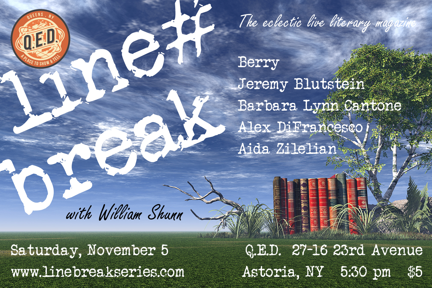Line Break Reading Series, Saturday, November 5, 2016, 5:30 pm
