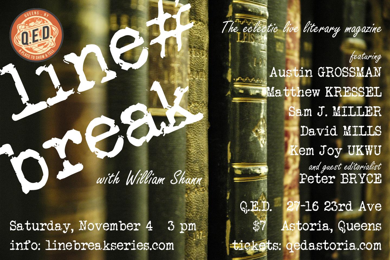Line Break #13: Saturday, November 4, 2017, 3:00 p.m.