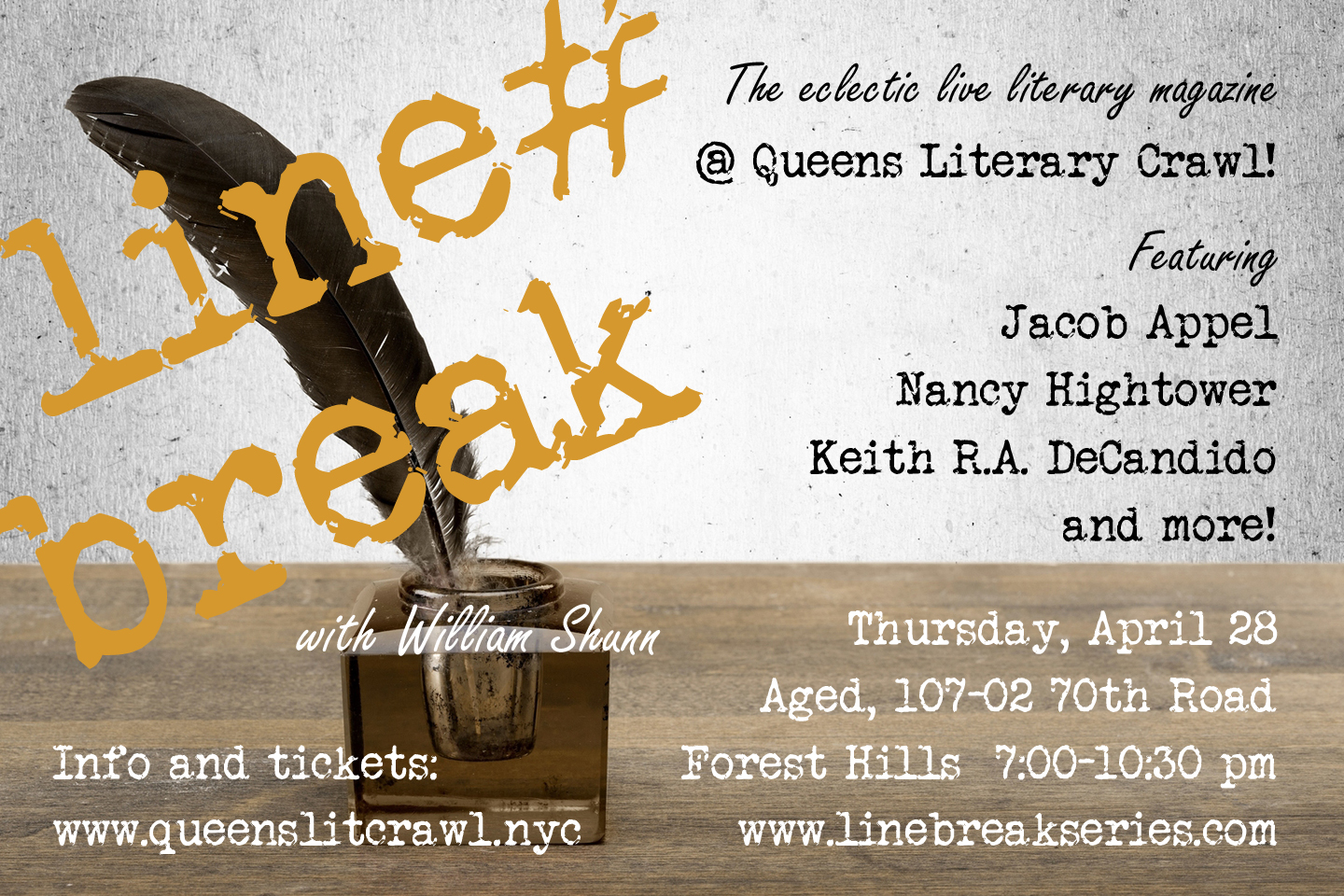 Line Break Reading Series at the Queens Literary Crawl, Thursday, April 28, 7:00-10:30 pm