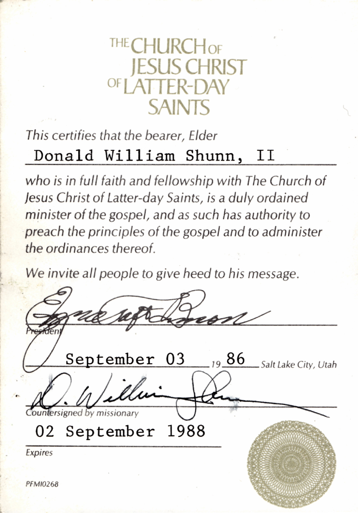William Shunn's ministerial certificate
